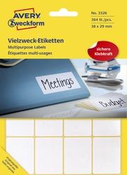 Avery Zweckform® 3326 Universal-Etiketten - 38 x 29 mm, weiß, 384 Etiketten/24 Blatt, permanent