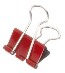 Foldback-Klammern - 19 mm, Klemmvolumen 7 mm, rot, 12 Stück