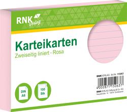 Karteikarten - DIN A6, liniert, rosa, 100 Karten