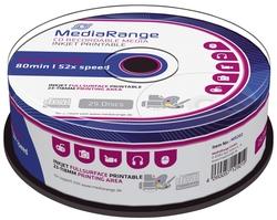 MediaRange CD-R Rohlinge - 700MB/80Min, 52-fach/Spindel, bedruckbar, Packung mit 25 Stück