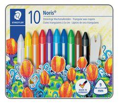 Staedtler® Wachsmalstifte Noris Club® - Metalletui mit 10 Farben und Schaber
